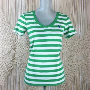Ralph Lauren Green & White Stripe V-neck Blouse